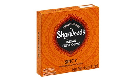 Sharwoods Puppodum Spiced-4 Oz -Pack Of 12