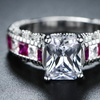 Lab-Created Ruby & Cubic Zirconia Princess-Cut Ring