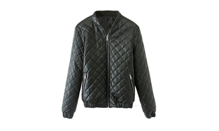 Women PU Stand Collar Zippered Quilted Motorcycle Jacket L Black - AZ075-black US L(Asian L) / US L(...
