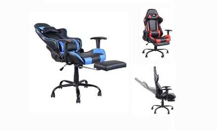 High Back PU Leather Executive Gaming Swivel Office Chair w/Headrest 3 Colors