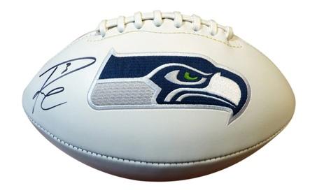Autographed Russell Wilson Seattle Seahawks White Logo Football 35dc3dd9-d3b0-4d25-a512-9407448eceec