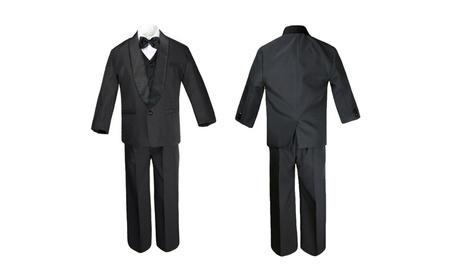 Infant Baby Toddler Boy Black Suit Shawl Lapel Tuxedo Vest Set SM-20