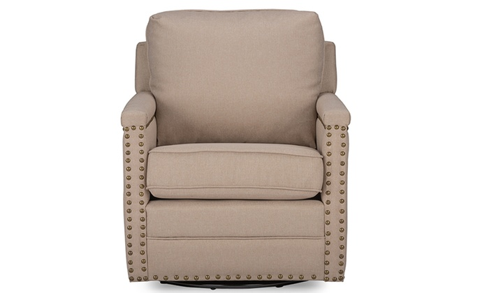 Ashley Fabric Upholstered Swivel Armchair With Bronze Nail Heads Trim ...