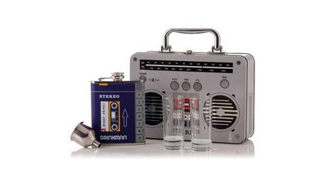 Wild Eye Stereo Boombox Cocktail Bar Set with Flask, Shot Glasses & Travel Case 35939527-dd1f-4da1-926c-d98f58970ed5