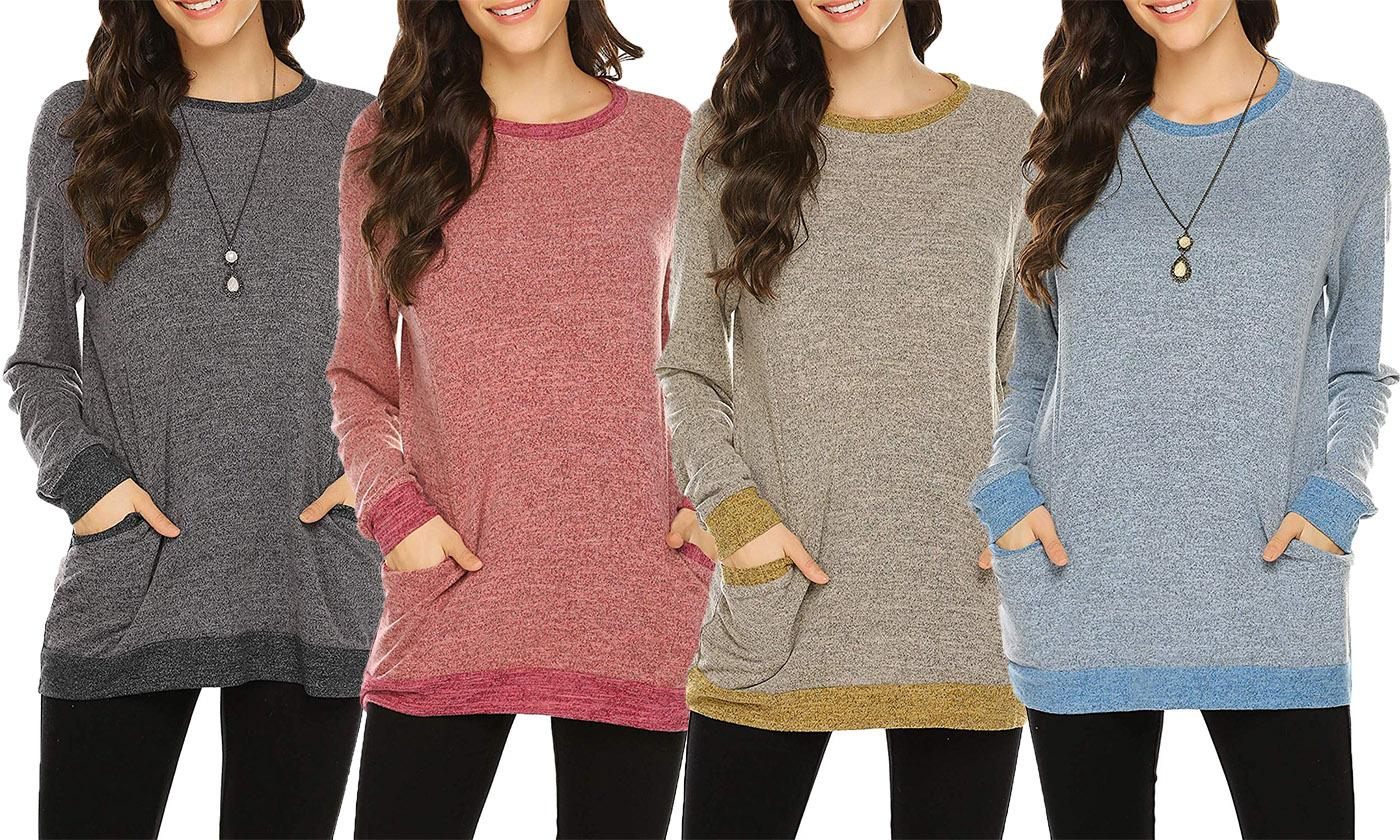 Women Casual Long Sleeve Round Neck Pocket Sweatshirts