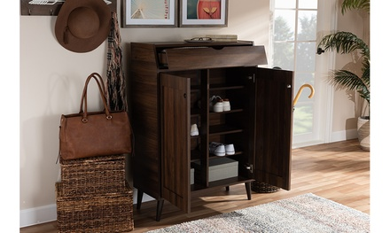 Cormier Walnut Brown 2-Door Wood Entryway Shoe Storage Cabinet