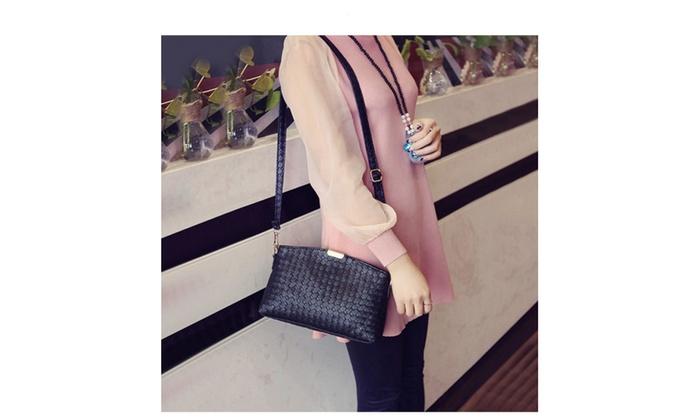 Weave Tassel Plaid Detachable Strap Zipper Clutch Shoulder Bag