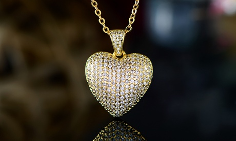 18k Gold Plated Puffed Heart Pendant Necklace Made With Swarovski Crystal