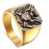 Stainless Steel Gold Color Military Badges Ring
