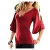 Women V Neck Cut Out Sleeve T-Shirt