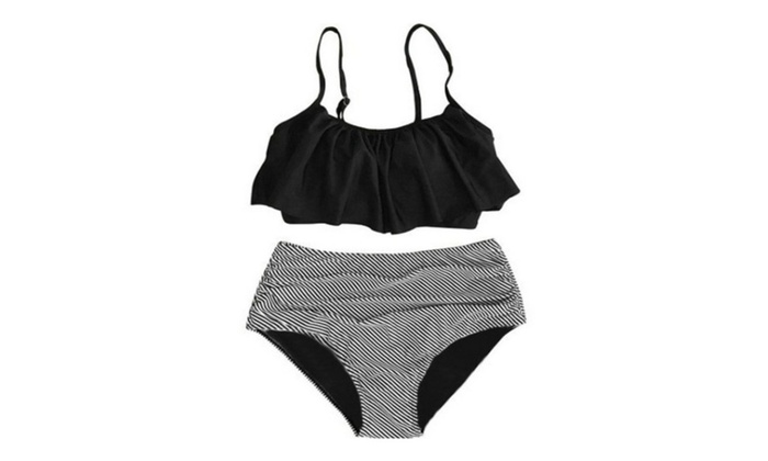 Womens Thin Shoulder Straps Ruched High-waisted Bikini Swimsuit
