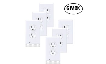 6-Pack Outlet Cover Wall Plate with LED Night Lights