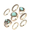 Turquoise retro gold-plated 8-piece ladies plum ring