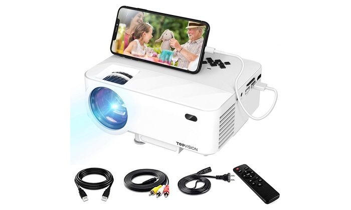 Mini Projector, TOPVISION Video Projector with Synchronize Smart Phone Screen   Groupon