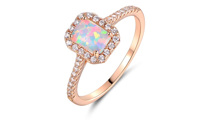 Finest Up To 50% Off on Princess-Cut White Fiery Opal | Groupon Goods ZS39