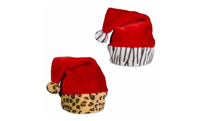 2d5c932c3aef9 Holiday Christmas Zebra   Leopard Print Plush Santa Hats (2 Pack ...