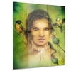 Indian Woman with Birds Portrait Metal Wall Art 12x28