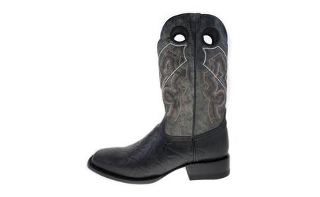 ReyWelt Men's Gray Black Square Toe Western Boot