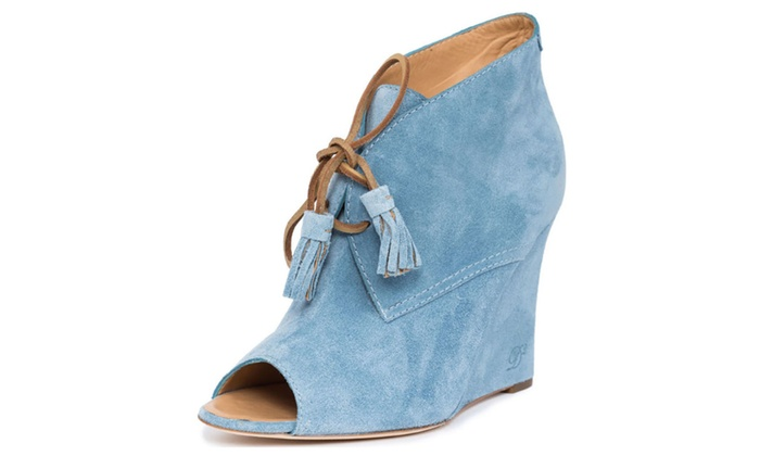 3c2d6631b2c New Dsquared2 Women Blue Leather Suede Lace-up Booties Wedges Italy ...