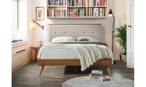 Bella Beige Fabric Upholstered Walnut Wood Platform Bed