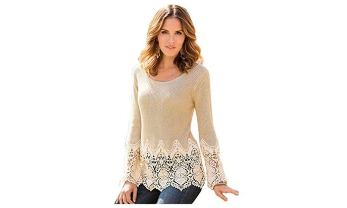 TomYork Christmas Khaki Floral Lace Splice Chunky Pullover Sweater – Beige / One Size