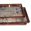 Cheungs Large Wooden Tray with Patchwork Design