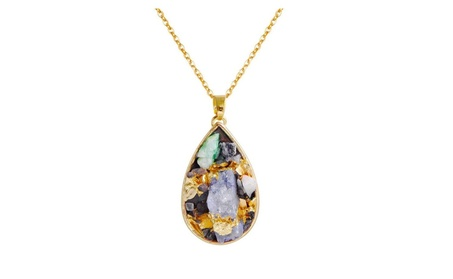 Fashion Trendy Multicolored Stone Long Pendant Necklace for Women 79a51360-ad82-4d85-a91b-1322568388b9