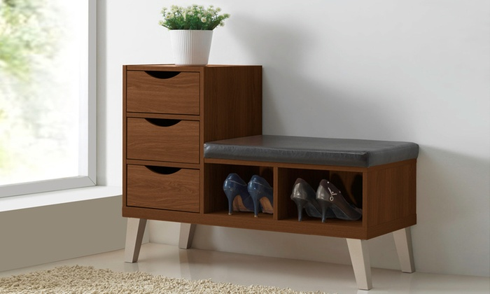 ... Arielle Modern Shoe Storage Cabinet With Bench