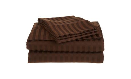 Superior 1500 Series 100% brushed Microfiber Striped Shades of Brown Sheet Sets d3a4edfb-f7ce-495b-a362-bb9eb4f7a759