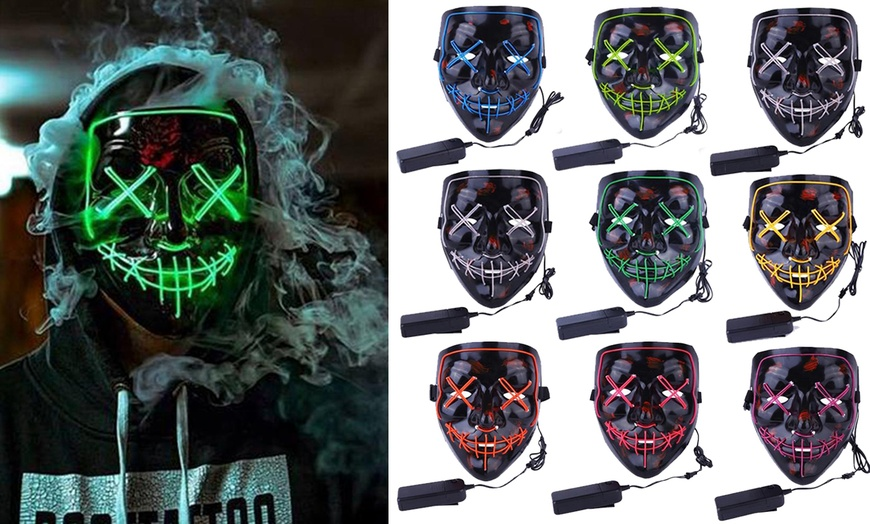 Apipi Halloween LED Light up Mask-Frightening EL Wire Cosplay Mask for Festival Parties