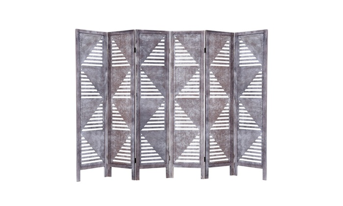 Up To 44 Off on 6 Panel Room Divider Wood Fol Groupon Goods