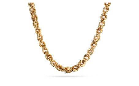 18K Gold Plated Stainless Steel Double Curb Chain Necklace for Men 6cc0306f-2147-47b1-8c1a-e9c3f3051ecf