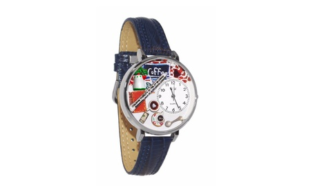 Whimsical Coffee Lover Navy Blue Leather And Silvertone Watch 61c89957-f032-4e6e-861e-a5a00ff55742