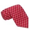 Knot Society Men's Red Cotton Plaid Fabric Regular Tie