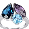 6.75 CTTW Genuine Topaz, Amethyst and Blue Topaz St. Silver Ring