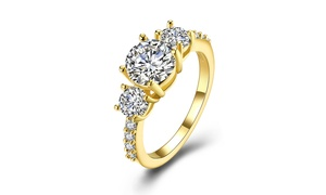 Multi Crystal Pav'e Lining Cocktail Ring in 18K Gold- Two Colors Available