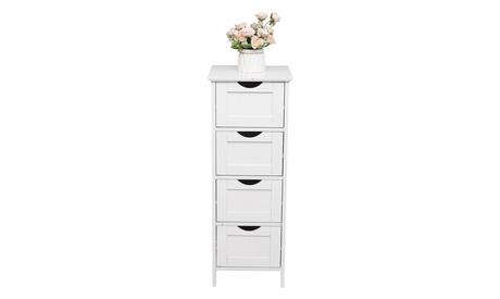 Freestanding Bathroom Cabinet Side Storage Organizer Cabinet W/ 4 Drawers