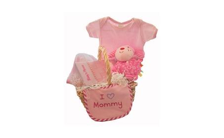 I Love Mommy Basket Gift Set - Hooded Towel, Onesie, Plush doggy, Bib 35003ea1-10c2-4967-9046-cae4f5e96be4