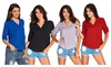 Hellochic: Hellochic Women V Neck Solid Loose Casual Cuffed Long Sleeve Blouses