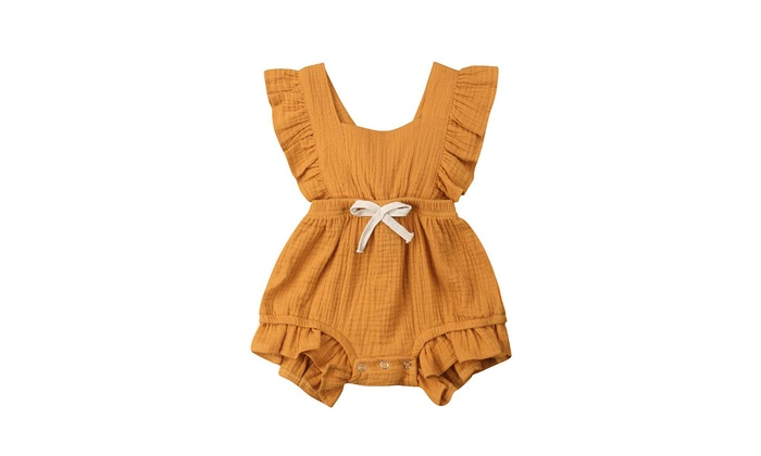 76507a16c6e96 Newborn Baby Girl Bodysuits Cotton Flutter Sleeve One-Piece Romper Outfits