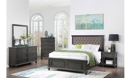 Ruma 4 Pieces Queen Bedroom Set Upholstered in Brown Fabric
