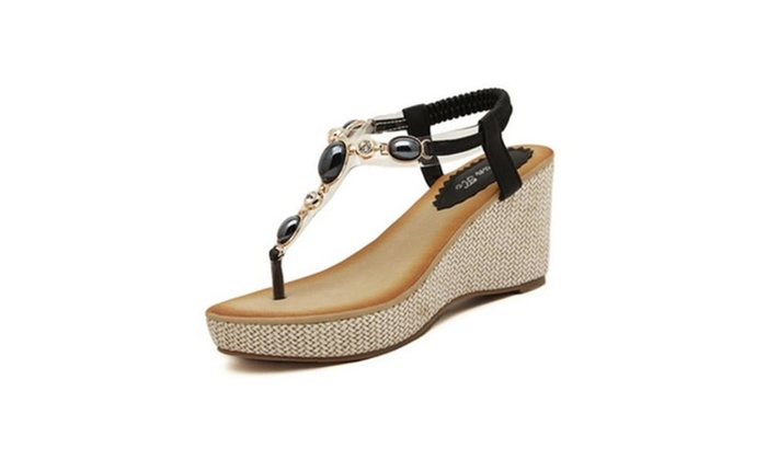 5233783d8873 Women s Sweet Boho Rhinestone Platform High Heel Wedge Thong Sandals ...