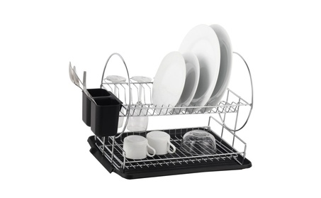 Deluxe Steel 2-Tier Dish Rack with Drainboard and Silverware cup bfd21104-95fe-4933-bae8-7367fd37fbd4