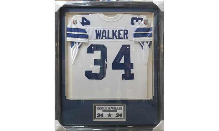 Hershel Walker Dallas Cowboys Autographed Jersey Frame | Groupon