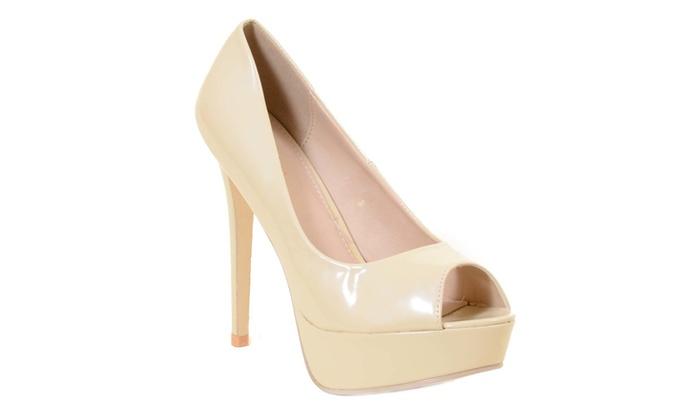 dfb3b810fb Nude Peep-Toe Platform Stiletto Women's Heels Pumps Size 10   Groupon