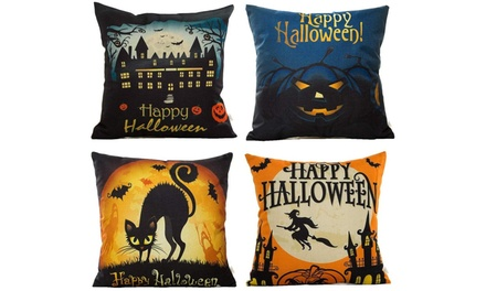 4-Pack Happy Halloween Square Decorative Throw Pillow Case Cushion Cover Was: $100 Now: $20.99.