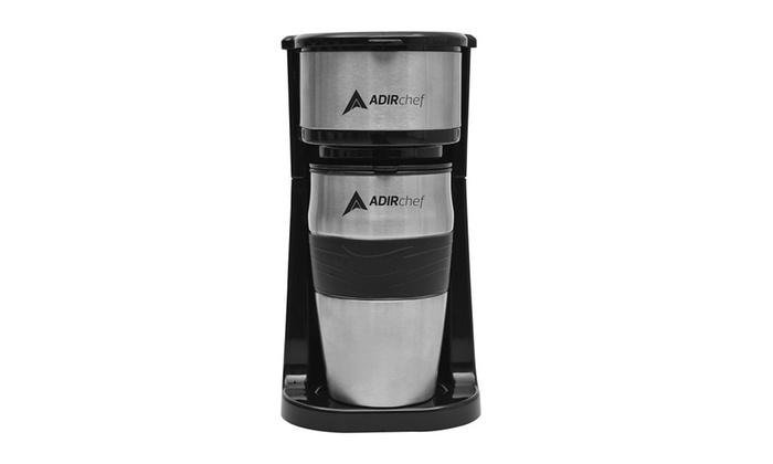 Adirchef Grab N Go Personal Coffee Maker With 15 Oz Travel Mug