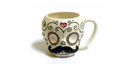 Sugar Skull with Mustache Ceramic Coffee Mug f78c3778-4e8e-48a0-b4da-856b04e70300