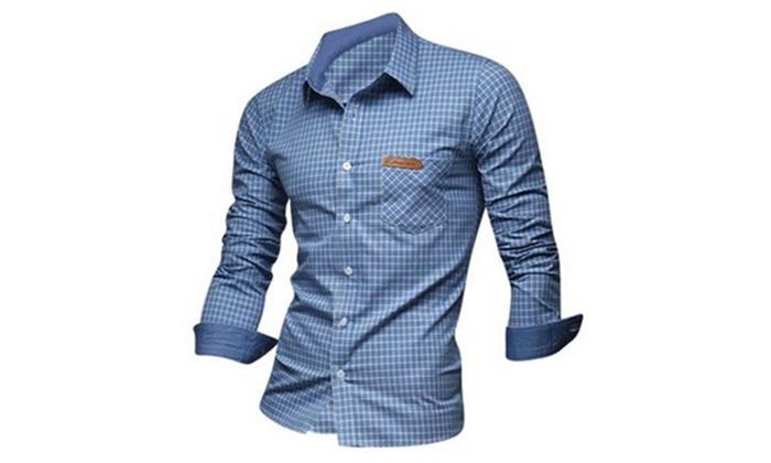 Men's Chic Plaid Contrast Slim Fit Long Sleeves Lapel Shirt