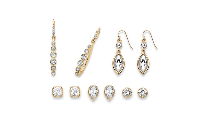 Groupon Goods: Faceted Multi-Cut Crystal Gold Tone 5-Pair Stud and Drop Earrings Set
